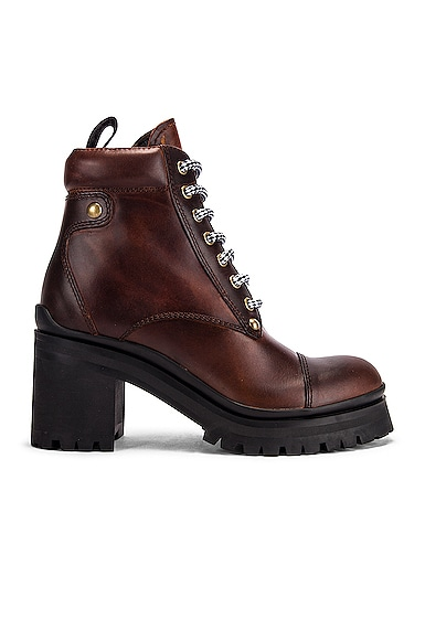 Lace Up Chunky Leather Ankle Boots