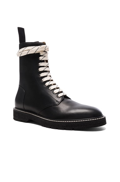 Light Brushed Leather Combat Boots