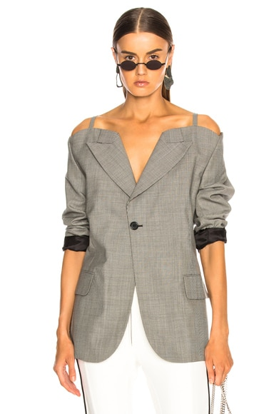 Cold Shoulder Check Blazer