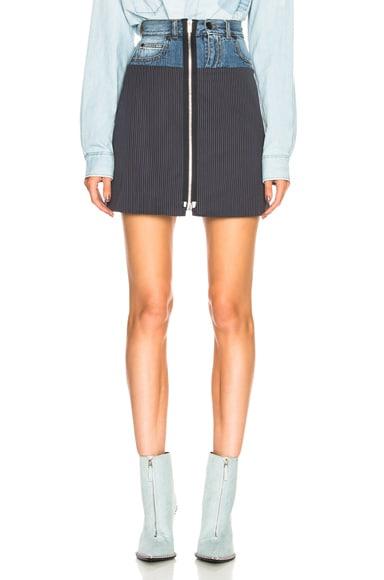 Denim & Knit Zip Front Mini Skirt
