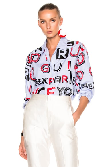 Striped Cotton Letter Print Shirt
