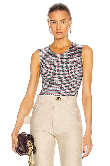 Maison Margiela Sleeveless Bodysuit In Multicolor Chevron
