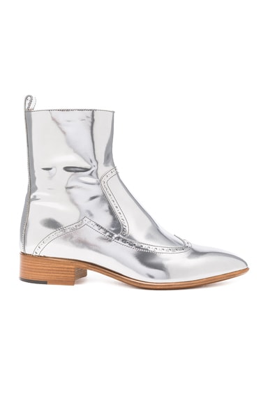 Leather Ankle Boots in Silver