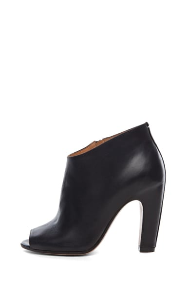 Leather Open Toe Booties