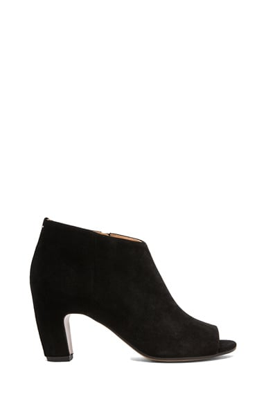 Open Toe Suede Bootie with Curved Heel