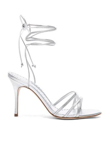 d8c57863a6 Leather Leva 90 Sandals. Manolo Blahnik
