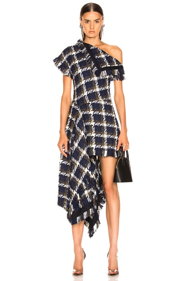 Flap Shoulder Asymmetrical Tweed Dress