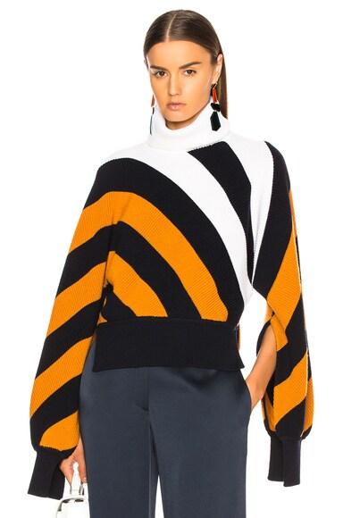 Diagonal Stripe Turtleneck Sweater