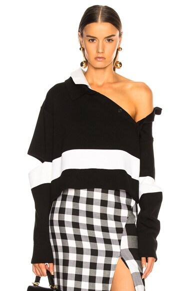 Wide Stripe Polo Sweater
