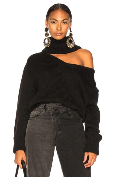 Drop Shoulder V Neck Turtleneck Sweater