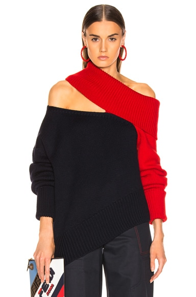 Two Tone Slashed Knit Sweater