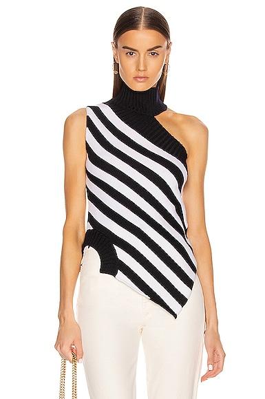 One Shoulder Striped Turtleneck Sweater