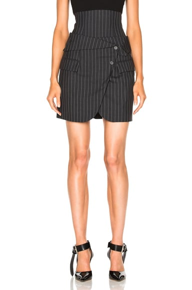 Pinstripe Wool Corset Skirt