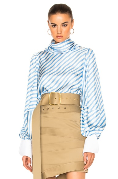 Striped Silk Twill Top