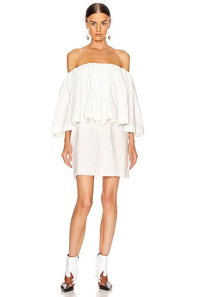 Off Shoulder 2 Layer Pleated Mini Short Dress