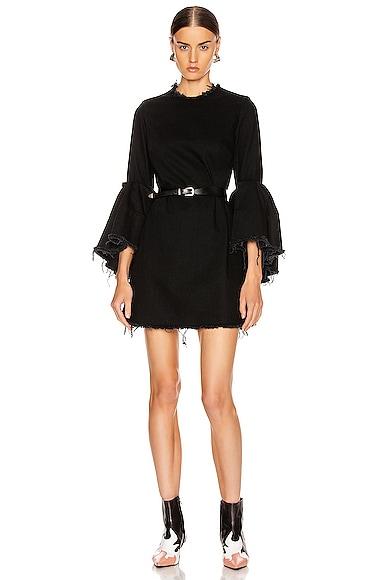 Pleated Sleeve Short Dress
