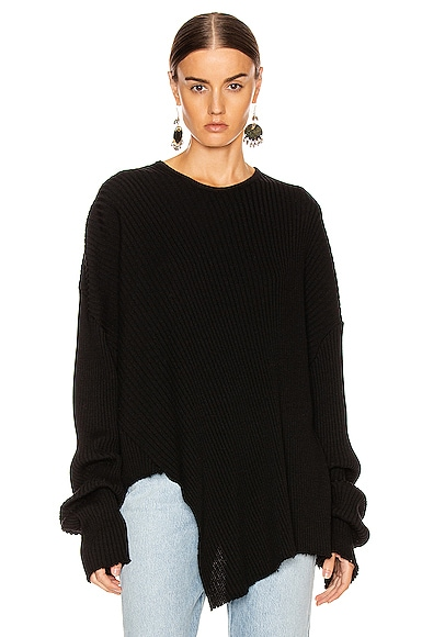 Marques' Almeida Sweaters MARQUES ' ALMEIDA ASYMMETRIC CREW NECK SWEATER IN BLACK