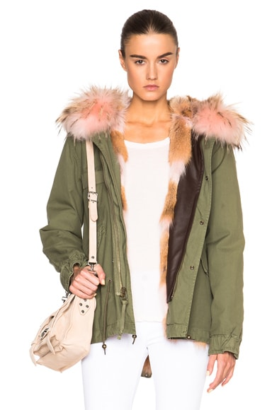 Mini Army Parka Jacket With Coyote & Raccoon Fur