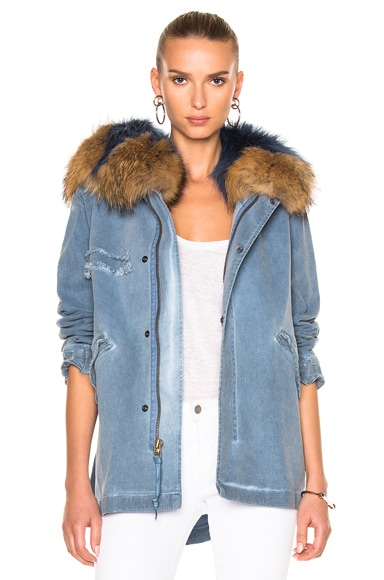Denim Mini Parka Jacket With Raccoon Fur
