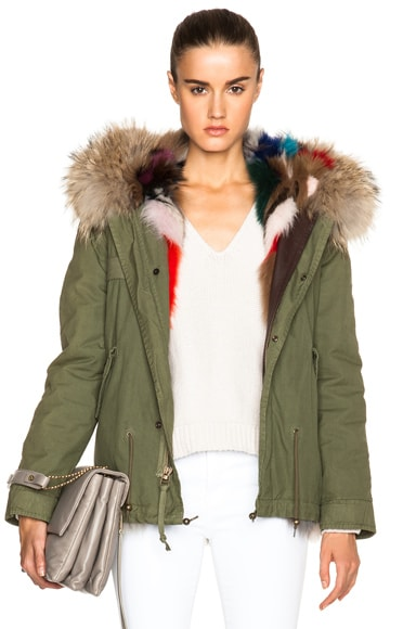Mini Fox Army Parka With Fox & Raccoon Fur