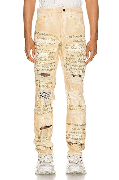 """Who Decides War"" Rhinestone Text Denim"