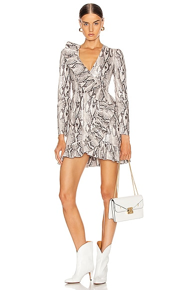 Ruffle Snake Print Dress