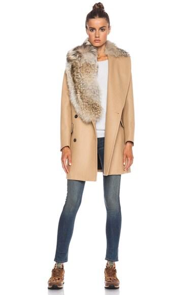 Msgm fur collared coat in camel fwrd