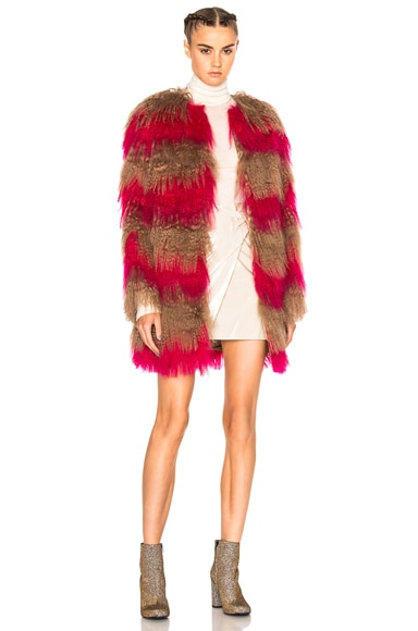 Stripe Fur Coat