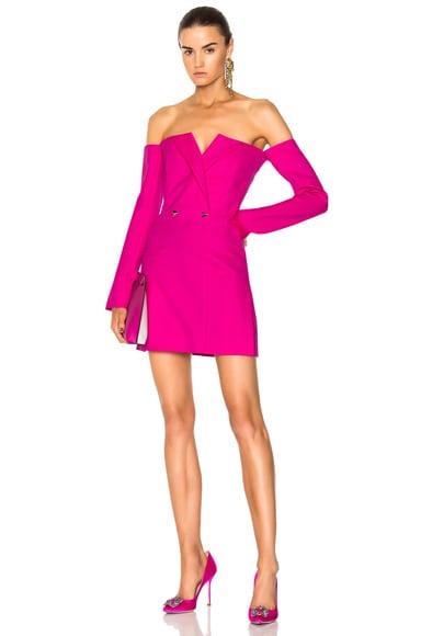 Wool Twill Off the Shoulder Dress