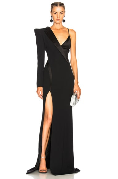 Crepe One Shoulder Wrap Gown