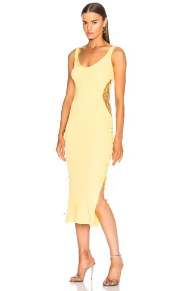 Side Lace Up Midi Dress