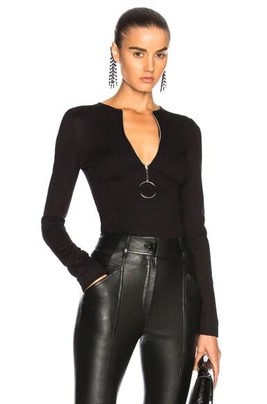 Jersey Zip Up Bodycon Bodysuit