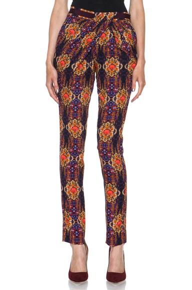 Folk Jewel Twisted Drape Silk Wrap Pant