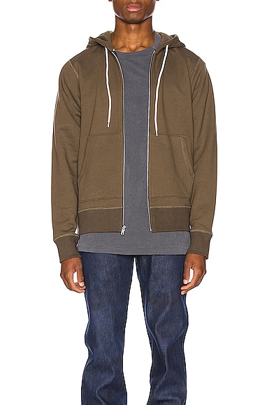 Naked And Famous Tops NAKED & FAMOUS DENIM ZIP HOODIE IN BROWN