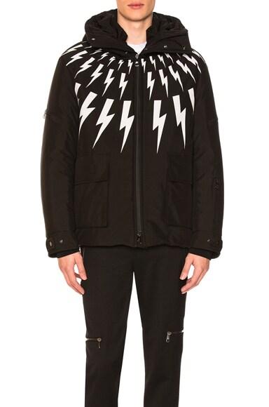 Neil Barrett Fairisle Bolt Ski Jacket in Black & White | FWRD
