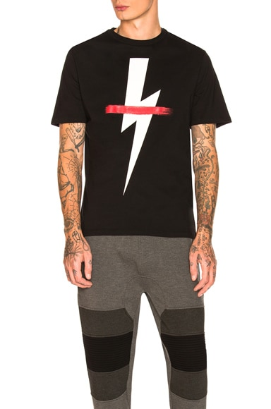 Crossed Out Bolt Tee in Black