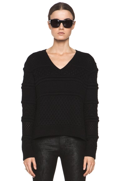 Chunky V Neck Cropped Pullover
