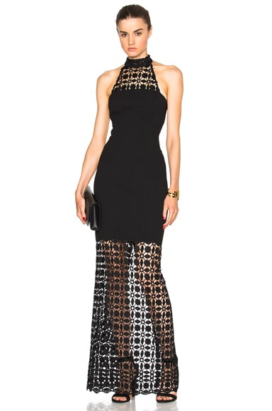 Mosaic Lace Halter Maxi Dress