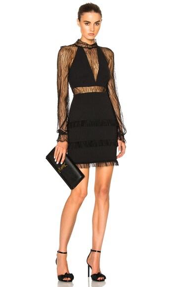 Filigree Lace Halter Plunge Dress