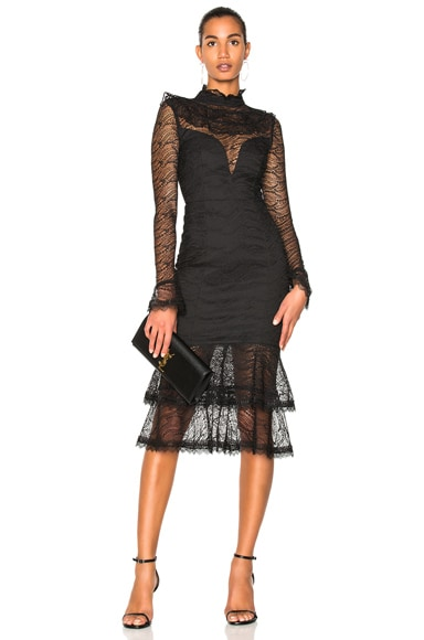 Vine Lace Ruffle Midi Dress