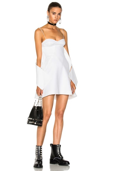 Crepe Flounce Mini Dress