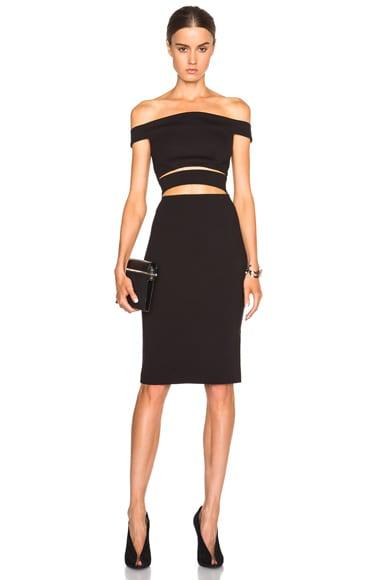 Ponti Off Shoulder Strap Dress