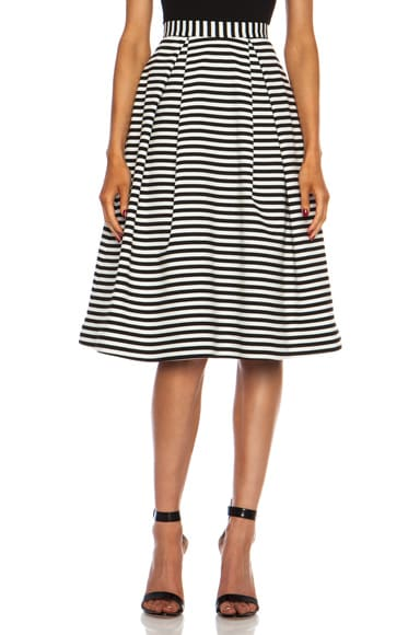 Stripped Ponti Ball Poly-Blend Skirt White & Black