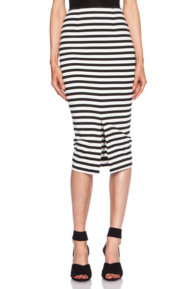 Monaco Stripe Poly-Blend Pencil Skirt