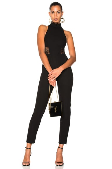 Crepe Panel Lace Jumpsuit