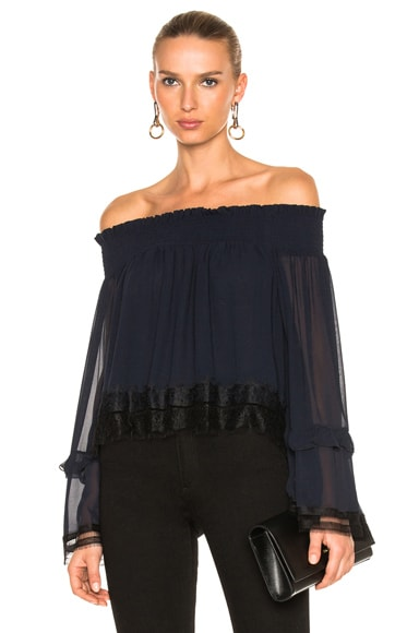 Georgette Ruffle Off Shoulder Top