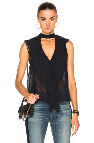 Georgette Spot Frill Neck Top