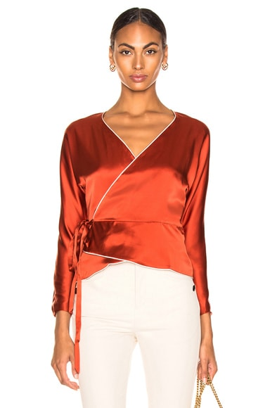 Silk Charmeuse Piping Wrap Top