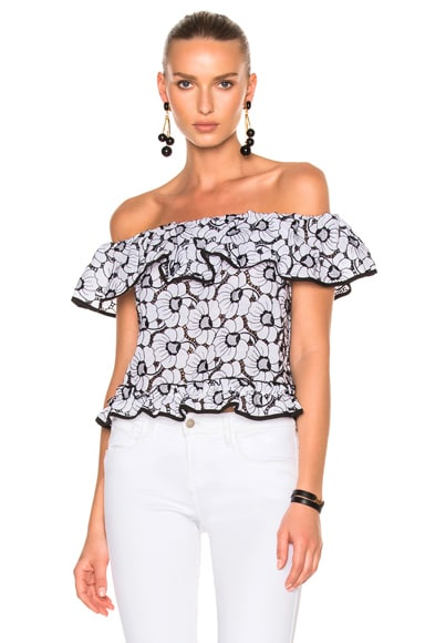 Camelia Embroidery Off Shoulder Top