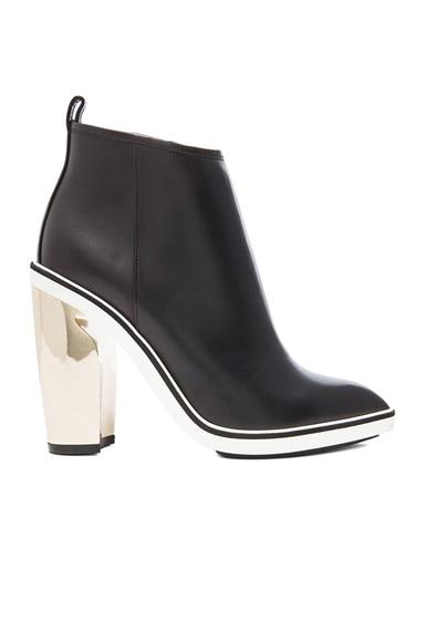 105mm Platino Heel Leather Booties